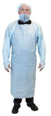 Safety Zone CPE-PE 4 Mil Chemical Resistant Polyethylene Aprons With Thumb Hole Sleeves - SIZE LARGE ONLY