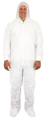 Safety Zone Polypropylene Coveralls with Hood, Boots and Elastic Wrists