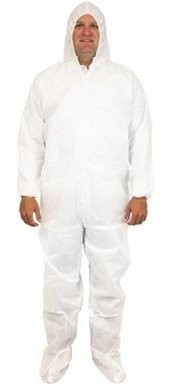 Safety Zone 50 Gram SMS Coveralls with Hood and Boots, Elastic Cuffs - SIZE LARGE ONLY