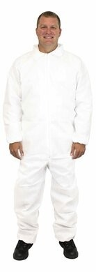 Safety Zone 50 Gram Triple Layer SMS Coveralls with Elastic Cuffs - COLOR WHITE ONLY
