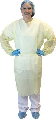 Safety Zone Latex-Free Isolation Gown with Ties - COLOR YELLOW, SIZE XL