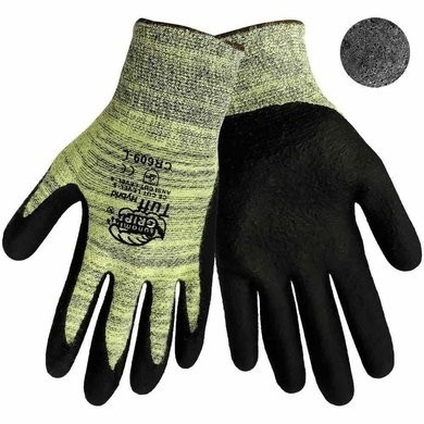 Global Glove CR609 Tsunami Grip Tuff Hybrid Gloves - 13 Gauge Aralene Shell - Foam Nitrile Dipped Palm