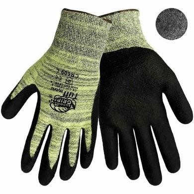 Global Glove CR609 Tsunami Grip Tuff Hybrid Gloves - 13 Gauge Aralene Shell - Foam Nitrile Dipped Palm