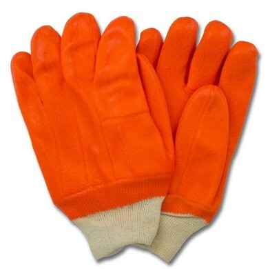 Safety Zone GPOF-KW-2R-3 Orange Jersey Insulated PVC Gloves With Knit Wrist - Size Large