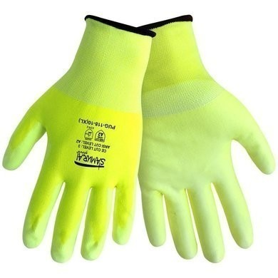 Global Glove Samurai PUG-118 -PU on HDPE- Hi Vis Ansi  Level 2 Cut Resistance
