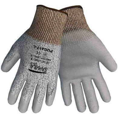 Global Glove PUG417 Samurai String Knit Gloves -Gray PU on HDPE - ANSI Level 2 Cut Resistance