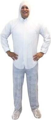 Safety Zone DCWF/DCBF Polypropylene Coveralls with Hood, Boots and Elastic Cuffs - COLOR WHITE ONLY