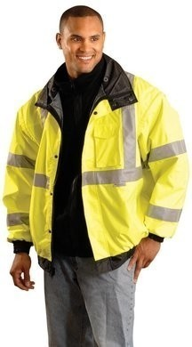 Occunomix Premium 4-Way Waterproof Bomber Jacket with Hood - ANSI 3