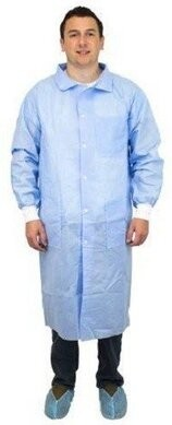 Safety Zone 50 Gram SMS Lab Coats - with Pockets, Knit Wrist - COLOR BLUE ONLY