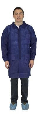 Safety Zone Polypropylene Blue Lab Coats - with Pockets,  Elastic Wrists