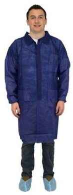 Safety Zone DLBL/DLWH 40 Gram Polypropylene Lab Coats - with Pockets, Elastic Wrists. WHITE, SIZE XXL ONLY
