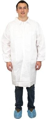 Safety Zone 60 Gram Breathable Microporous Lab Coats - No Pockets, Elastic Wrists