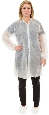 International Enviroguard Polypropylene Lab Coats - With Elastic Wrists, No Pockets
