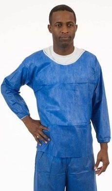 Enviroguard SMS Soft Scrubs Denim Blue Long Sleeve Shirt