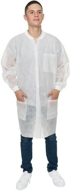 International Enviroguard Polypropylene Lab Coats - with 3 Pockets, Knit Wrist & Collar