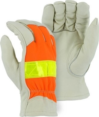 Majestic 1951 Hi Vis Thinsulate Lined Cowhide Drivers Gloves