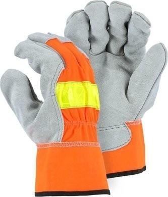 Majestic 1954 Hi Vis Cowhide Leather Palm Work Gloves