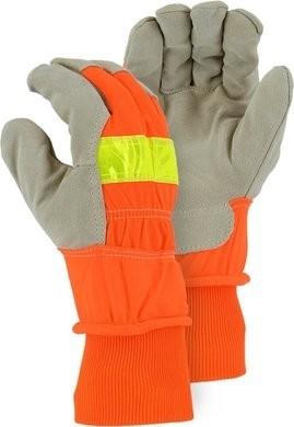 Majestic 1960 Winter Lined Pigskin Leather Palm Hi Vis Gloves