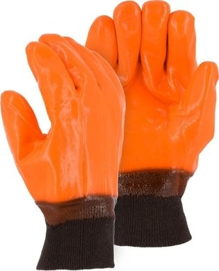 Majestic 3370 Smooth PVC Winter Work Gloves with Knit Wrist Cuff - Size Large