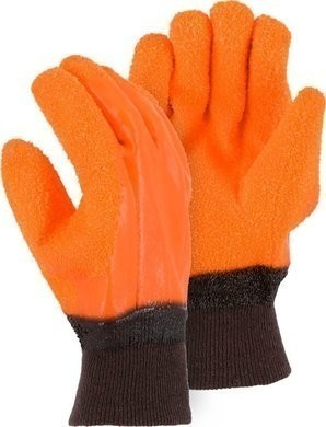 Majestic 3370G Heavy Grit PVC Winter Work Gloves with Knit Wrist Cuff - Size Large