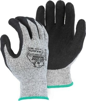 Majestic 35-1550 Cut-Less Watchdog® Seamless Knit Gloves with Crinkle Latex Palm Coating - Cut Level 4