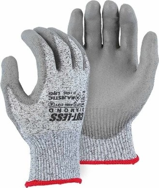 Majestic 37-1505 Dyneema Cut-Less Diamond Heavy Seamless Knit Gloves with Polyurethane Palm Coating ANSI A4