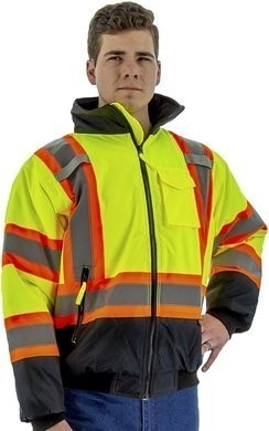 Majestic Hi Vis Waterproof ANSI 3 Jacket with DOT Striping & Quilted Liner