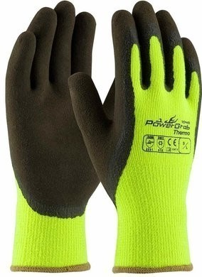 PIP 41-1405 PowerGrab Thermo Hi-Vis Acrylic Terry Gloves with Latex MicroFinish Grip