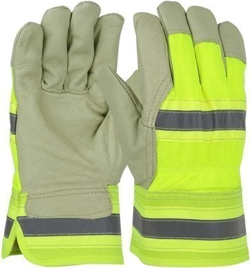 PIP Hi Vis Thermal Lined Pigskin Leather Palm Gloves With Rubberized Safety Cuff