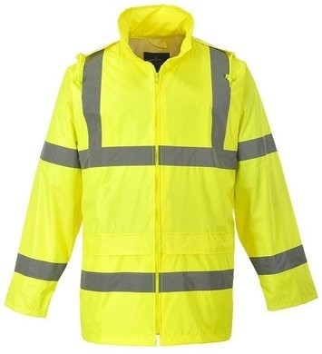 Portwest Hi Vis Waterproof Rain Jacket with Pack Away Hood and Zipper Closure - ANSI 3