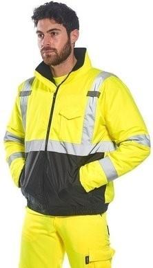 Portwest Hi Vis Waterproof Bomber Jacket with Black Bottom