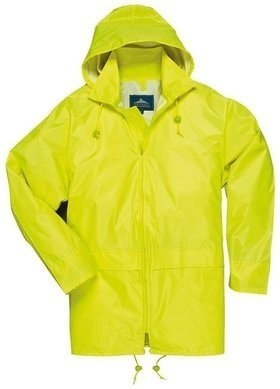 Portwest Economy Waterproof Rain Jacket with Pack Away Hood and  Zipper Closure