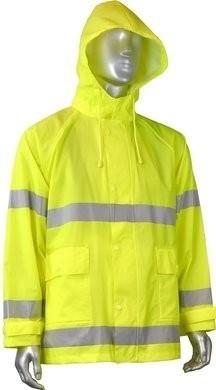 Radians RW25J-3ZGV Hi Vis PVC/Nylon Waterproof Rain Jacket with Detachable Hood
