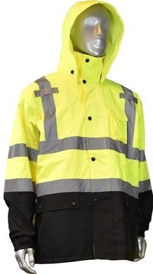 Radians Hi Vis Waterproof Black Bottom Rain Jacket - Detachable Hood
