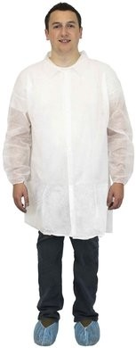 Safety Zone Polypropylene Lab Coats - No Pockets, Elastic Wrists