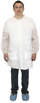 Safety Zone Polypropylene White Lab Coats - with Pockets, Elastic Wrists