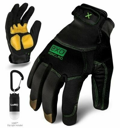 Ironclad EXO Modern Leather Reinforced Gloves w/ Free Lumo Cliplight