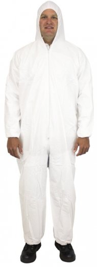 Safety Zone 60 Gram Microporous (Tyvek-like) Coveralls with Hood & Elastic Wrists - DCWH-BB-HEWA