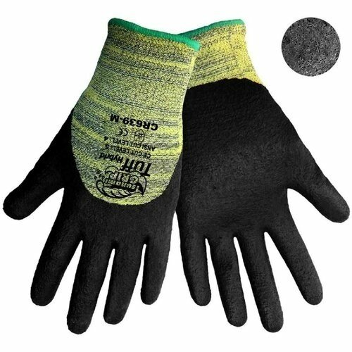 Global Glove CR639 Tsunami Grip Tuff Hybrid Gloves - 10 Gauge Knit with Aramid Fibers -3/4 Dip Foam Nitrile