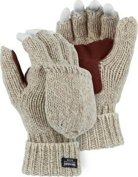 Majestic 3422P Ragg Wool Fingerless Gloves with Hood