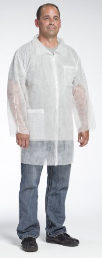 West Chester 3514 Spunbond Polypropylene Lab Coat - With Pockets, Open Wrists