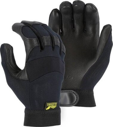 Majestic 2149 Black Hawk Mechanics Gloves with Deerskin Palm and Mesh Back