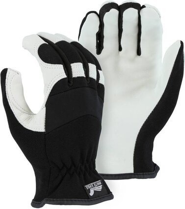 Majestic 2153D Premium White Grain Goatskin Palm Slip-On Gloves