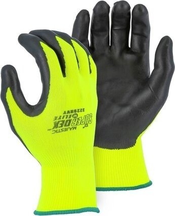 Majestic 3229HVY SuperDex Elite Hi Vis Yellow Nitrile Palm Coated Gloves