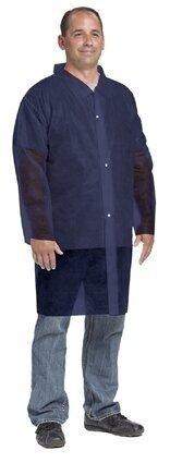 West Chester 3511B Spunbond Polypropylene Blue Lab Coat - No Pockets, Open Wrists