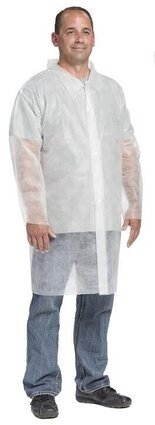 West Chester 3511 Spunbond Polypropylene Lab Coat - No Pockets, Open Wrists
