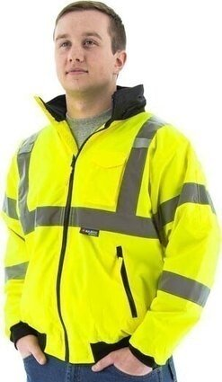 Majestic 75-1301/1302 Hi Vis Waterproof Bomber Jacket with Detachable Hood - ANSI 3