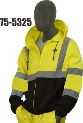 Majestic 75-5325/5326 Hi-Vis Sweatshirt with Zipper Front and Pullover Hood - ANSI 3