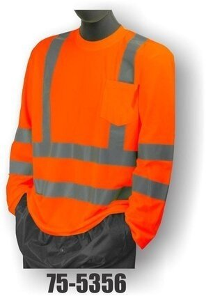 Majestic 75-5355/5356 Hi Vis Long Sleeve Shirt w/ Pocket- ANSI 3