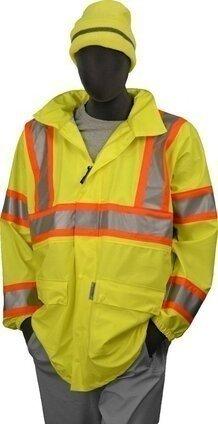 Majestic 75-7301 Polyester Hi Vis DOT Rain Jacket with Concealed Hood - ANSI 3